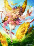 1girl bare_shoulders blonde_hair butterfly copyright_request dress flower green_eyes hair_ornament kyouka_hatori long_hair pointy_ears smile solo sunflower thigh-highs