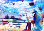 1girl bespectacled book chair clouds glasses hatsune_miku headphones headphones_around_neck jinichi long_hair sitting sky solo thigh-highs very_long_hair vocaloid