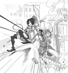 1girl alex_ahad battle boots cable cropped_jacket dodging dual_wielding giant highres horns mikasa_ackerman monochrome monster scarf shingeki_no_kyojin short_hair signature sword thigh-highs thigh_boots three-dimensional_maneuver_gear weapon