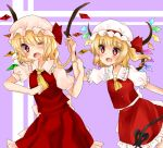2girls ascot blonde_hair blush dual_persona fang flandre_scarlet hair_pull hat hat_ribbon koyashaka mob_cap multiple_girls open_mouth puffy_sleeves red_eyes ribbon shirt short_sleeves side_ponytail skirt skirt_set touhou vest wings wink