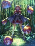 1girl benitama bow cape covered_mouth crossed_arms floating floating_heads hair_bow head highres open_mouth red_eyes redhead sekibanki shoes short_hair skirt smile solo touhou yuu-gi-ou