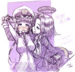 2girls :p arms_up blush breasts chain gloves hair_grab headgear kantai_collection leash looking_at_viewer military military_uniform monochrome multiple_girls personification purple_hair ryou_(shirotsumesou) short_hair sketch smile tatsuta_(kantai_collection) tongue tongue_out uniform violet_eyes