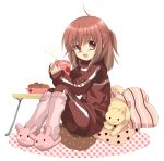 blush brown_eyes brown_hair cat cup flat_chest food izumi_rei kneehighs loli original pillow sleeves_past_wrist sleeves_past_wrists slippers smile socks solo table track_jacket