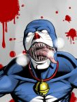 bell_collar blood collar daisuke_(ilovetennis) die_(artist) doraemon doraemon_(character) empty_eyes tongue
