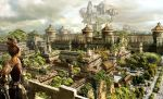 armor brown_hair castle city cityscape cloud clouds fantasy original realistic scenery sky tree wall