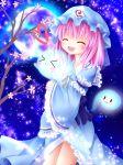 >_< 1girl blue_dress blush branch cherry_blossoms dress frills furomaaju_(fromage) ghost hat hug moon open_mouth pink_hair saigyouji_yuyuko short_hair smile touhou triangular_headpiece wide_sleeves