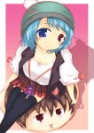 black_thighhighs blue_eyes blue_hair breasts casual cleavage contemporary hat heterochromia jewelry karakasa necklace red_eyes short_hair skirt tatara_kogasa thigh-highs touhou umbrella vest yukkuri_shiteitte_ne