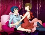 blue_hair brown_hair couple dress girl_on_top heart heart_pillow high_heels kaito meiko necktie pillow red_dress red_eyes sabo sabo_(srapenil) shoes short_hair smile vocaloid world_is_mine_(vocaloid)