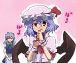bat_wings blood braid fang gloves hat izayoi_sakuya maid multiple_girls nosebleed red_eyes remilia_scarlet short_hair silver_hair toro_(nightlord) toro_(pixiv) touhou twin_braids wings