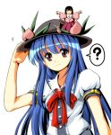 2girls ? blue_hair food fruit hat hinanawi_tenshi houraisan_kaguya long_hair mingirl multiple_girls open_mouth peach smile touhou tsurukou_(tksymkw)