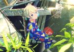 1girl barefoot blonde_hair blue_kimono blush fan glint highres holding holding_fan japanese_clothes kimono looking_at_viewer original outdoors paper_fan rust short_hair sitting smile solo uchiwa yukata yuki_no_city