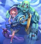 1boy 1girl blue_eyes boots bracelet breasts chain chains collar golem hat horns jewelry kurumayama necklace original red_hair redhead ring skirt snake staff underboob wink witch_hat