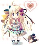 blonde_hair blood blue_eyes bow bracelet chibi corset detached_sleeves dress flower hair_bow hat heart highres jewelry long_hair lying mini_top_hat necklace nosebleed original ribbon rope top_hat yamadori_yoshitomo