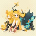 1boy 1girl bad_id blonde_hair bow costume hairclip hoodie jacket kagamine_len kagamine_rin luxray pechika pokemon pokemon_(creature) pokemon_(game) pokemon_dppt shinx shiny_pokemon shorts sitting sneakers socks star twins vocaloid