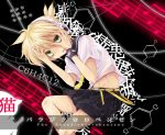 blonde_hair green_eyes headphones kagamine_len male musical_note necktie paradichlorobenzene_(vocaloid) shimo_(depthbomb) shorts solo vocaloid