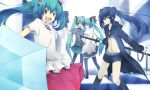 aqua_hair black_hair black_rock_shooter black_rock_shooter_(character) blush boots flower hair_flower hair_ornament hatsune_miku koi_wa_sensou_(vocaloid) lama_(kusuriya) long_hair melt_(vocaloid) shorts skirt smile sword thigh-highs thighhighs twintails umbrella very_long_hair vocaloid weapon world_is_mine_(vocaloid)