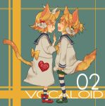 blonde_hair blue_eyes bow cat_ears hair_bow headphones kagamine_len kagamine_rin kneehighs macco sailor_dress short_hair shorts siblings socks striped striped_socks tail tears twins vocaloid