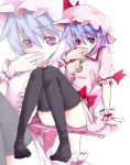 bad_id covering_mouth hands hat highres purple_hair red_eyes remilia_scarlet shiro_(pixiv_76048) shirofox short_hair solo thighhighs touhou zoom_layer
