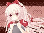 blush bow bust fujiwara_no_mokou hair_bow hair_ribbon kai_akatsuki_mare kai_aki long_hair object_hug pink_hair pout red_eyes ribbon silver_hair teardrop tears the_iron_of_yin_and_yang touhou tray waitress