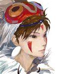 brown_eyes brown_hair circlet earrings face_paint facepaint ghibli jewelry mask mononoke_hime realistic san studio_ghibli