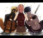 1girl 2boys back belt black_gloves black_hair blonde_hair from_behind gloves hand_on_back haruno_sakura headband jacket lovemaronmeru0827 multiple_boys naruto naruto_shippuuden petals pink_hair short_hair sitting spiky_hair team7 uchiha_sasuke uzumaki_naruto
