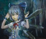 1girl blue_background blue_eyes blue_hair bodice bow cirno embellished_costume hair_bow hands_up highres lips looking_at_viewer oil_painting_(medium) ribbon short_hair short_sleeves solo stalactite touhou traditional_media tsun_(tsutaya01) wings wrist_cuffs