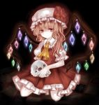 1girl blonde_hair darkness dress flandre_scarlet glowing glowing_wings hat hat_ribbon maipiku_muji_zhong mob_cap puffy_sleeves red_dress red_eyes ribbon shaded_face shirt short_sleeves side_ponytail sitting skull smile solo tile_floor tiles touhou wariza wings