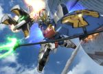 battle beam_trident blue_sky building city clouds damaged dragon fire glowing glowing_eyes gundam gundam_wing hiropon_(tasogare_no_puu) mecha no_humans polearm shenlong_gundam shield sky trident weapon