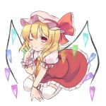 1girl ascot blonde_hair blush flandre_scarlet hat hat_ribbon heart looking_at_viewer mob_cap mushi_baibai pink_eyes puffy_sleeves ribbon shirt short_sleeves sitting skirt skirt_set solo thighhighs touhou vest white_legwear wings wink wrist_cuffs wrist_ribbon zettai_ryouiki