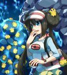 1girl bag blue_eyes blush bow brown_hair double_bun hand_to_own_mouth handbag holding holding_poke_ball irouha joltik long_hair mei_(pokemon) open_mouth poke_ball pokemon pokemon_(creature) pokemon_(game) pokemon_bw2 raglan_sleeves shorts twintails visor_cap watch
