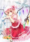 1girl ascot bird birdcage blonde_hair butterfly cage card clock flandre_scarlet flower gyaza hat hat_ribbon looking_at_viewer mob_cap puffy_sleeves red_eyes ribbon rose shirt short_sleeves side_ponytail skirt skirt_set solo touhou vest wings yellow_rose