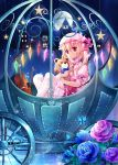 1girl ascot bell_tower blonde_hair blue_rose bow_(instrument) butterfly carriage dress flandre_scarlet flower full_moon glowing glowing_wings gyaza hat hat_ribbon instrument mob_cap moon pantyhose puffy_sleeves red_dress red_eyes red_rose ribbon rose scarlet_devil_mansion shirt short_sleeves side_ponytail sitting solo star stuffed_animal stuffed_toy teddy_bear touhou violin white_legwear wings