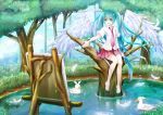 1girl aqua_eyes aqua_hair barefoot bird canvas_(object) duck easel feathers hatsune_miku long_hair necktie open_mouth sitting skirt solo toki_(toki-master) tree twintails very_long_hair vocaloid water wings