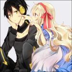 1boy 1girl black_hair blonde_hair directional_arrow dress headphones kagerou_project konoha_(kagerou_project) long_hair mary_(kagerou_project) poking red_eyes ringoro scarf short_hair short_ponytail simple_background