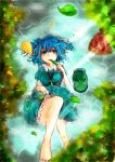 1girl autumn_leaves bare_legs barefoot blue_eyes blue_hair breasts cucumber eating food_in_mouth hair_bobbles hair_ornament hat hat_removed headwear_removed kawashiro_nitori key knee_up looking_at_viewer lying on_back paguningen partially_submerged short_hair skirt_hold solo touhou twintails water