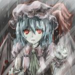 1girl ascot bat_wings benisan blouse blue_hair expressionless fangs fingernails grey_background hands_up hat hat_ribbon light_trail lips looking_at_viewer mob_cap pale_skin rain red_eyes remilia_scarlet ribbon sharp_fingernails short_hair short_sleeves solo touhou wings wrist_cuffs