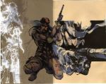1boy bandana gun kneeling lowres metal_gear_solid mk_23_pistol official_art shinkawa_youji sneaking_suit solid_snake suppressor weapon