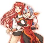 1boy 1girl :d arca_(summon_night) arm_guards armband back-to-back belt fire fur_collar grin horns irouha kagerou_(summon_night) locked_arms long_hair miniskirt open_mouth red_eyes redhead short_hair silver_hair skirt smile summon_night summon_night_5 two_side_up violet_eyes