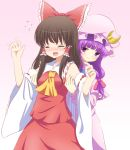 2girls armpits arms_up ascot black_hair blush bow crescent detached_sleeves dress flying_sweatdrops gradient gradient_background hair_bow hair_tubes hakurei_reimu hakuto_(28syuku) long_hair looking_at_another mob_cap multiple_girls open_mouth patchouli_knowledge pink_background purple_hair robe simple_background skirt skirt_set smile striped striped_dress tears tickling touhou violet_eyes