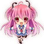 1girl angel_beats! chibi demon_tail etou_(cherry7) long_hair looking_at_viewer lowres open_mouth pink_eyes pink_hair school_uniform serafuku simple_background smile solo tail very_long_hair white_background yui_(angel_beats!)