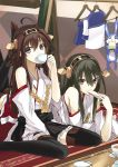 2girls ahoge bare_shoulders black_eyes black_hair brown_hair crossed_legs_(lying) cup detached_sleeves drinking eating food food_on_face hair_ornament hairband haruna_(kantai_collection) headgear japanese_clothes kantai_collection kauto kongou_(kantai_collection) long_hair looking_at_viewer lying multiple_girls on_stomach personification sitting stuffed_animal stuffed_bunny stuffed_toy teacup thighhighs uniform wariza