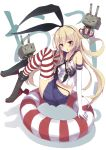 1girl :3 anchor black_panties blonde_hair blush elbow_gloves gloves hair_ornament hairband highres kantai_collection long_hair looking_at_viewer navel open_mouth panties rensouhou-chan shimakaze_(kantai_collection) skirt striped striped_legwear thighhighs underwear white_gloves yuui_hutabakirage