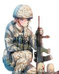 1girl blonde_hair blue_eyes blush boots camouflage daito gloves gun hat l85 military original short_hair smile solo weapon