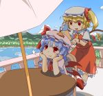 2girls :t ankle_socks ascot balcony bat_wings blonde_hair blouse blue_hair blue_sky clouds flandre_scarlet flapping flying forest hat hat_ribbon head_rest hihachi hill lake looking_at_another looking_up mob_cap mountain multiple_girls nature open_hand pouring pout railing red_eyes remilia_scarlet ribbon shade shadow short_hair siblings side_ponytail sisters sitting skirt skirt_set sky table teapot touhou umbrella wings wrist_cuffs