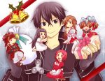 2boys 4girls asuna_(sao) black_eyes black_hair chibi dragon gift kirito klein lisbeth miniboy minigirl multiple_boys multiple_girls nyame pina_(sao) short_hair silica sword_art_online yui_(sao) yuuki_asuna