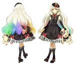 1girl absurdres axe blonde_hair boots bow dress elbow_gloves frilled_legwear gloves gothic gothic_lolita gradient_hair hair_ornament hidari_(left_side) highres holding lolita_fashion mayu_(vocaloid) multicolored_hair official_art piano_print rabbit rainbow_hair solo stuffed_animal stuffed_toy transparent_background vocaloid weapon white_background yellow_eyes