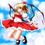1girl ascot blonde_hair blue_sky clouds flandre_scarlet hat hat_ribbon jumping looking_at_viewer misoshiru_(meridianchild312) mob_cap pink_eyes puffy_sleeves ribbon shirt short_sleeves skirt sky smile solo touhou vest wings wrist_cuffs
