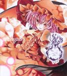 1girl alternate_color ayuayu bat_wings dress energy_ball finger_to_mouth hat hat_ribbon looking_at_viewer marker_(medium) mob_cap open_mouth outstretched_arm pink_hair red_dress red_eyes remilia_scarlet ribbon short_sleeves smile solo tongue tongue_out touhou traditional_media wings wrist_cuffs
