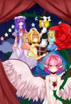 4girls absurdres aisee alice_margatroid alternate_costume apron bird_wings blonde_hair blood blood_from_mouth bloody_clothes blue_background blue_eyes book bow braid capelet clouds crescent curtains double_bun dress expressionless flower hair_bow hair_over_eyes hairband hat hat_ribbon heart heart-shaped_pupils highres holding_hands hourai_doll kirisame_marisa lolita_hairband long_hair looking_at_another looking_at_viewer mob_cap multiple_girls mystia_lorelei open_book open_mouth patchouli_knowledge payot pink_hair puppet_rings purple_hair red_eyes red_rose ribbon robe rose sash shanghai_doll short_hair single_braid skirt skirt_set sky smile star star_(sky) starry_sky sundress symbol-shaped_pupils thorns touhou v_arms waist_apron witch_hat