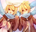 :d blue_eyes blush bow gradient gradient_background hair_bow hair_ornament hairclip holding_hands jacket kagamine_len kagamine_rin looking_at_another namihaya necktie open_mouth scarf school_uniform short_hair siblings smile twins vocaloid